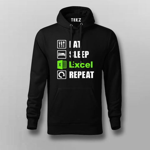 Eat Sleep Excel Repeat Accountant Humour Hoodies For Men Online India