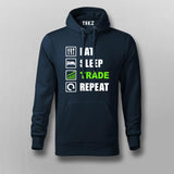 Eat Sleep Trade Repeat Funny Investors Hoodies For Men India