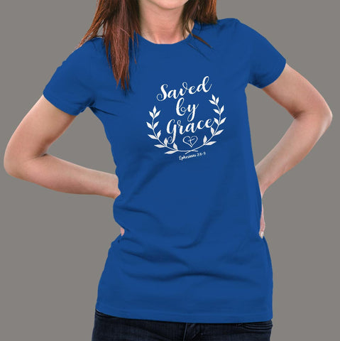 Ephesians 2: 8-9 Saved by his Grace Women's Christian bible verse T-shirt