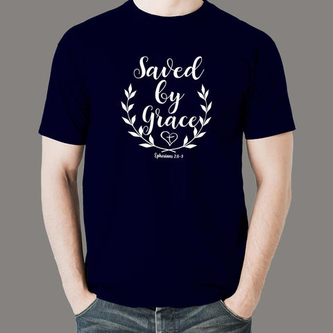 Ephesians 2: 8-9 Saved by his Grace Men's Christian bible verse T-shirt online india