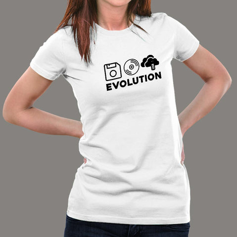 Evolution of Data Storage Computer Science T-Shirt For Women