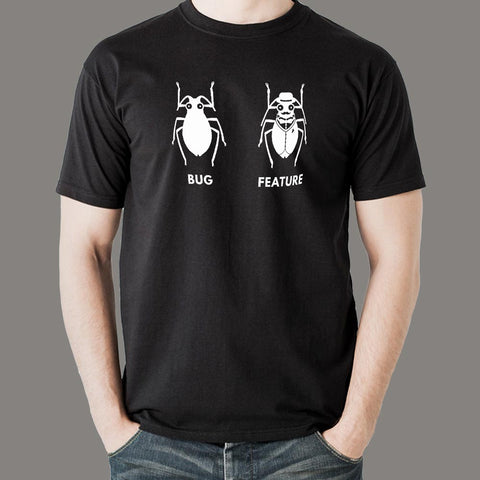 Funny Feature Bug Programmer T-Shirt For Men