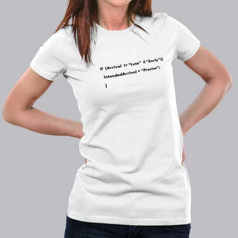 Funny Never Late Programming Coding Humour T-Shirt For Women
