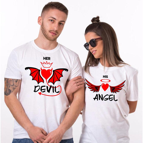 Her Devil His Angel Couple T-Shirts Online India
