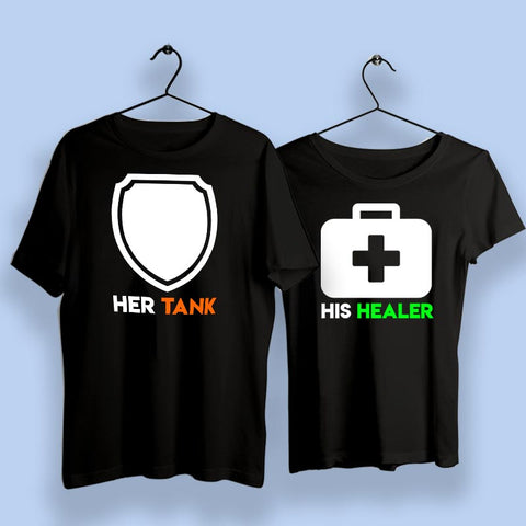 Her Tank His Healer Couple T-Shirts Online India