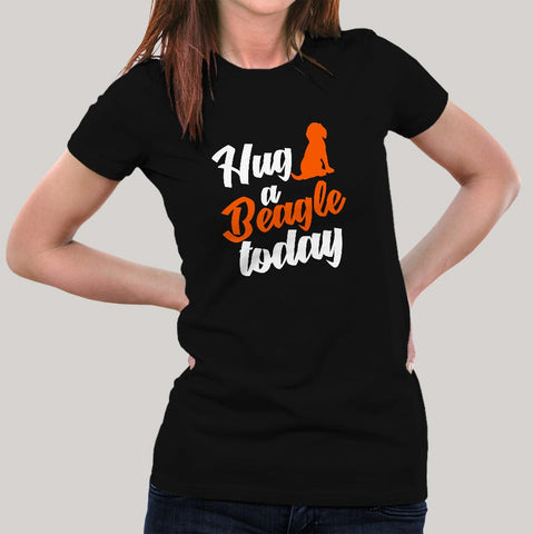 Hug A Beagle Today T-Shirt For Women Online India