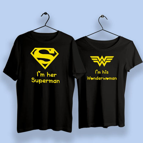 I Am Her Superman I Am His Wonder Woman Couple T-Shirts Online India