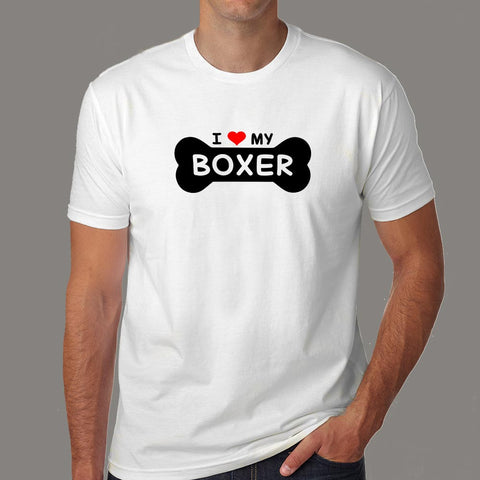 I Love My Boxer Men's Boxer Dog T-Shirt Online India