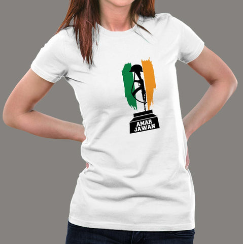 I Love Indian Army Amar Jawan Patriotic Jai Hind Women's T-shirt online India