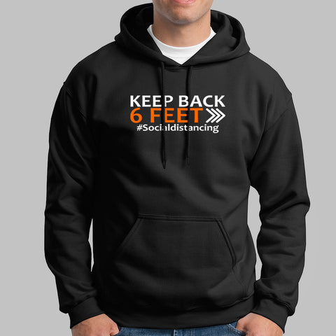 Keep Back 6 Feet Social Distancing Hoodies For Men Online India