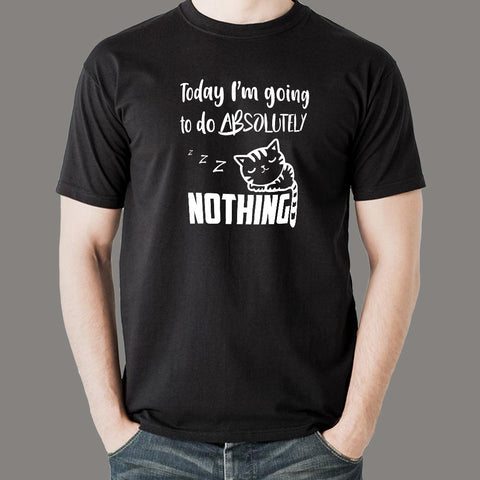 Lazy Cat - I Will Do Nothing Today Men's T-Shirt india