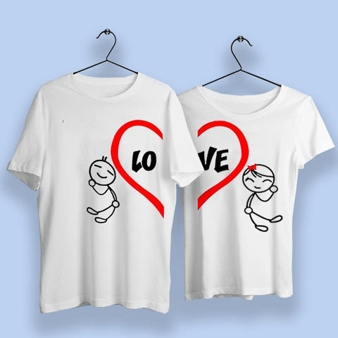 Love Heart Cute Couple T-Shirts Online India
