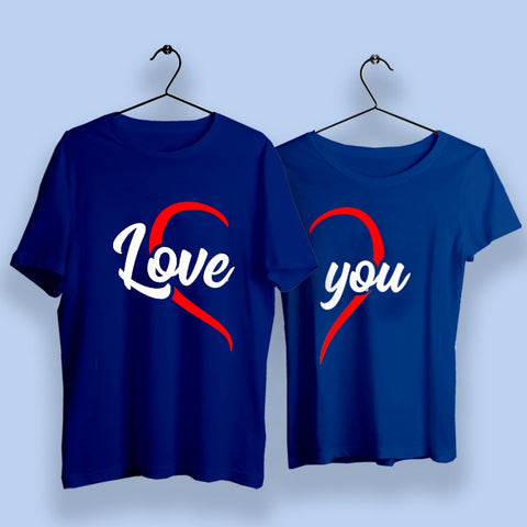 Love You Heart Couple T-Shirts Online India
