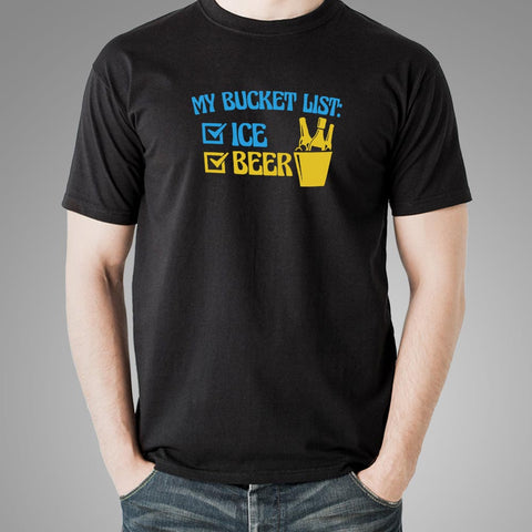 My Bucket List: Ice And Beer T-Shirt For Men Online India