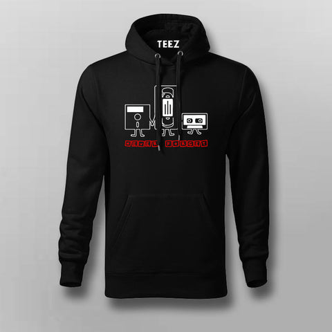 Never Forget Nostalgic Cassette Floppy Disk Hoodies For Men Online India