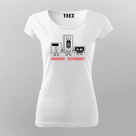 Never Forget Nostalgic Cassette Floppy Disk T-Shirt For Women Online India