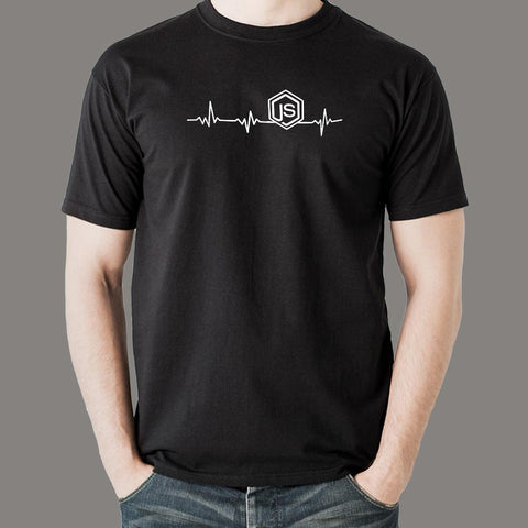 NodeJS Javascript Heartbeat T-Shirt For Men India