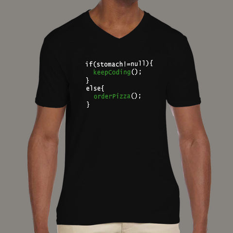 Funny Code - Order Pizza Men's v neck T-shirt for Programmers online india