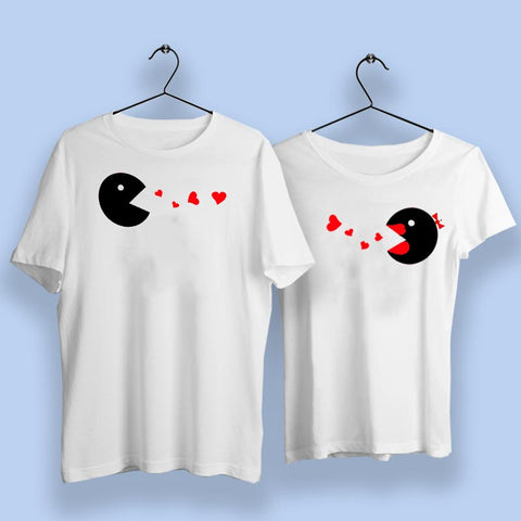 Pacman Cute Couple T-Shirts Online India