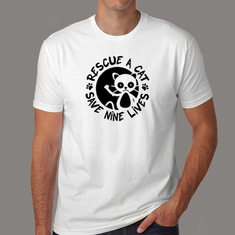 Rescue A Cat Save Nine Lives T-Shirt For Men Online India