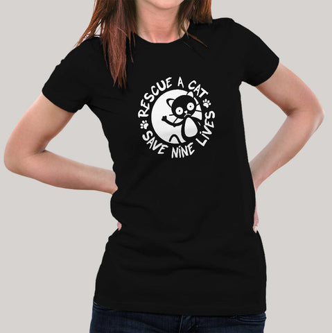 Rescue A Cat Save Nine Lives T-Shirt For Women India