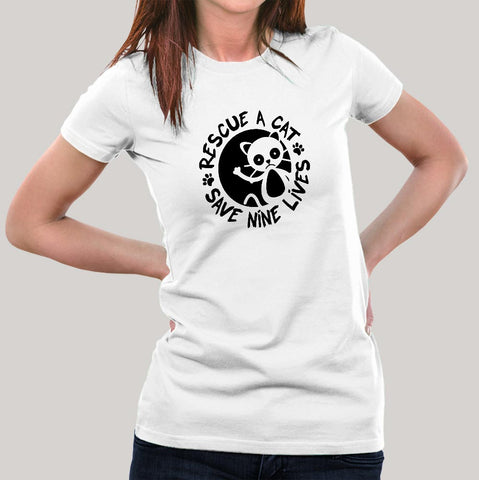 Rescue A Cat Save Nine Lives T-Shirt For Women Online India