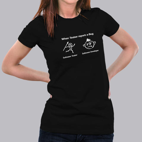 When Tester Report A Bug Funny Software Tester And Developer T-Shirt For Women Online India