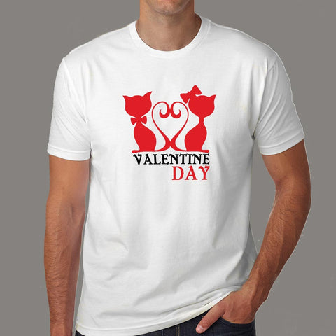 Valentines Day Funny Cat T-Shirt For Men Online India