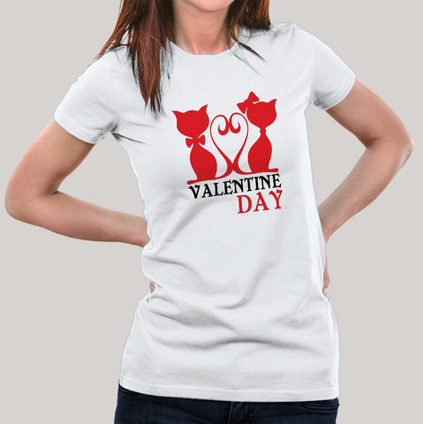 Valentines Day Funny Cat T-Shirt For Women Online India