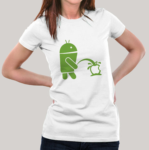 Android Peeing on Apple Women's T-shirt