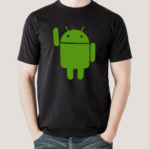 black tee android mascot india