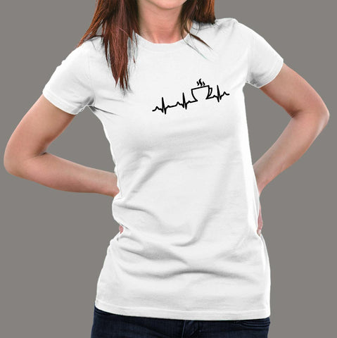 Coffee Heartbeat T-Shirt For Women india