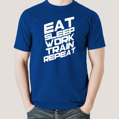 Eat Sleep Train Work Repeat Gym - Motivational Men's T-shirt
