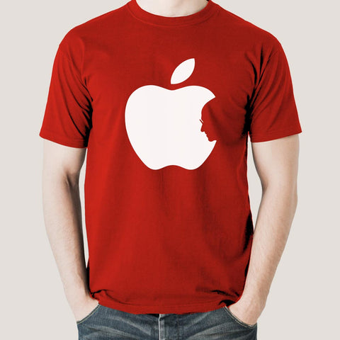 Steve Jobs In Apple Logo T-Shirt For Men
