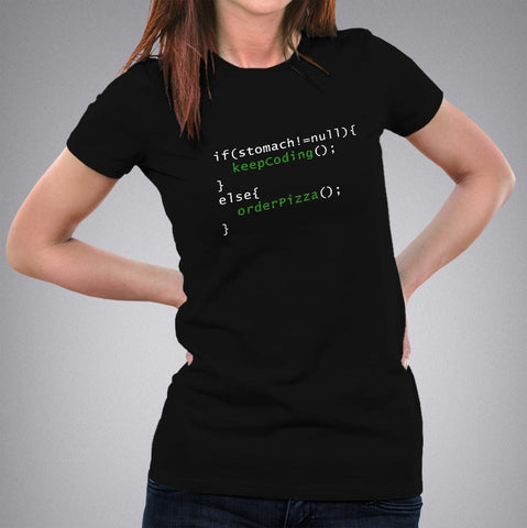 Funny Code - Order Pizza Women's T-shirt for Programmers online india