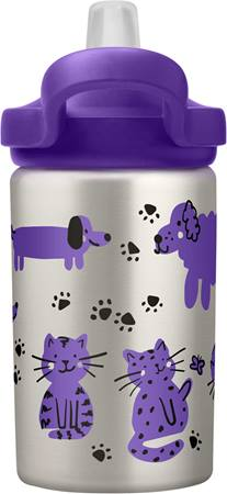 CamelBak Eddy+ Stainless Steel Kids Drink Bottle 400ml - Cats & Dogs