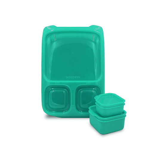 Goodbyn Hero Lunchbox (includes 2 leak proof dippers) - Neon Aqua - phunkyBento