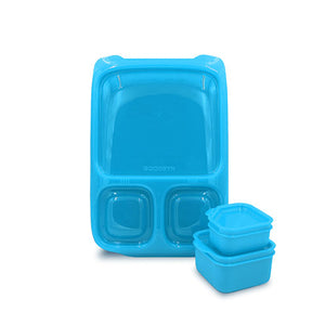 Goodbyn Hero Lunchbox (includes 2 leak proof dippers) - Neon Blue - phunkyBento