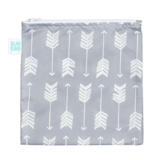 Bumkins Large Reusable Snack Bag - Grey Arrow - phunkyBento