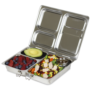 PlanetBox LAUNCH Stainless Steel Bento Lunch Box (3 compartments) - phunkyBento