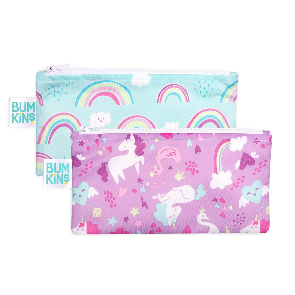 Bumkins Small Snack Bag 2pk - Rainbows & Unicorns - phunkyBento