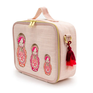 SoYoung Lunch Bag - Pink Linen | Embroidered Dolls