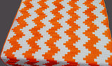 Chevron handmade cotton quilted  white  and orange zig zag spring summer king size with 2 king pillow shams. - TATVAKALA Home