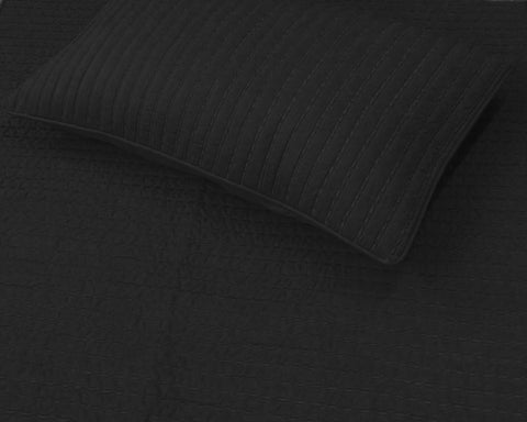 charcoal grey hadmade embroidery quilted bedding set,king size with 2 king pillow shams. - TATVAKALA Home