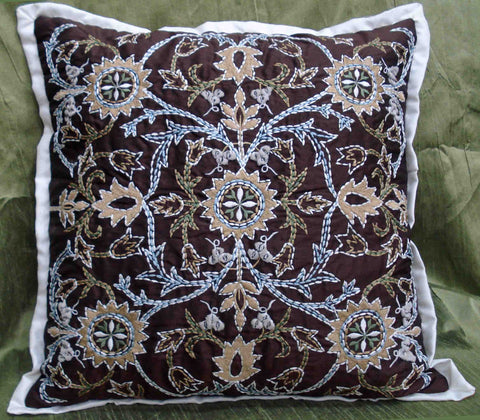 garden-brown embroidered trellis cushion cover16x16,modern decorative art deco home decor,accent pillowcasee,throw pillow,william morrison - TATVAKALA Home