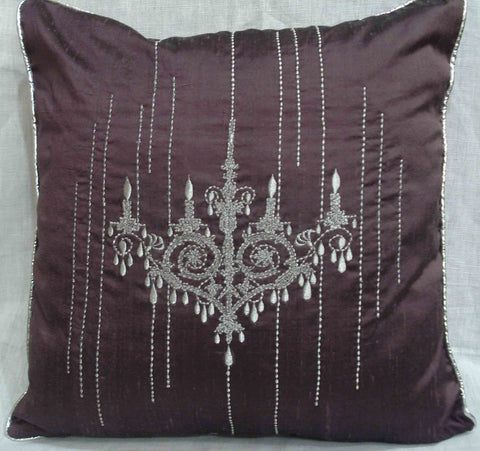 chandelier silver embroidered purple cushion
