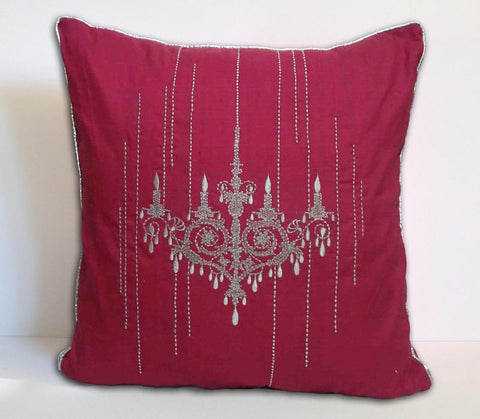 chandelier silver embroidered pink cushion