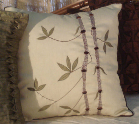 modern orietal embroidered leafy bamboo shoots cushion 16inchx16inch - TATVAKALA Home