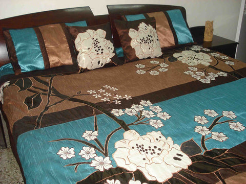 wild flower field duvet cover in size 90inchX108inch in brown and teal colour - TATVAKALA Home