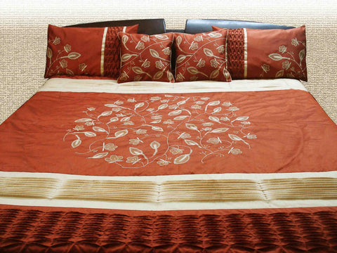 modern quilted and embroidered duvet cover in earthy rust and cream,beautiful bedding set,orange bedding,king duvet,luxury bedding set - TATVAKALA Home